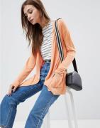 ASOS DESIGN cardigan in fine knit with rib detail - Apricot