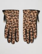 Barney's Originals Real Leather And Leopard Print Texture Gloves - Bla...