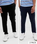 Sorte og mørkeblå skinny lærredsbukser i pakke med 2 fra ASOS DESIGN-...