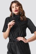 NA-KD Party Striped Glittery Velvet Top - Black