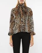 Ganni Calla Silk Blouse Leopard
