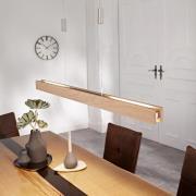 LED-hængelampe Alin i træ, natureg, 98 cm
