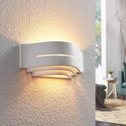 Væglampe Amran i gips, hvid, 3 niveauer, striber