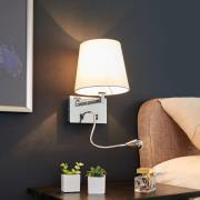 Stofvæglampe Leonella med LED læselampe