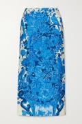 Valentino - Printed Wool And Silk-blend Midi Skirt - Blue