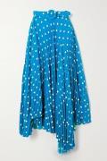 Balenciaga - Belted Asymmetric Pleated Polka-dot Crepe Midi Skirt - Bl...