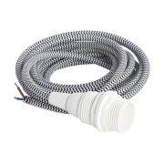 HOUSE DOCTOR stofledning - sort/hvid stribet, m. hvid E14 fatning