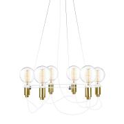 Globen Lighting-Cables Lysekrone ø60 cm, Hvid/ Messing
